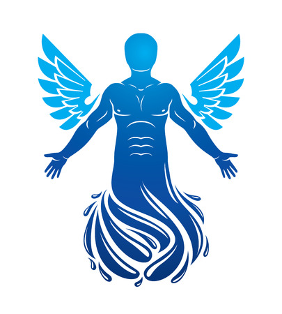 personality: Vector illustration of human being deriving from water and composed with bird wings. Human and nature coexistence, freedom and liberty idea. Illustration