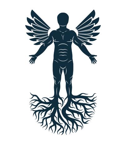 강한 남성, 몸 실루엣 흰색 배경에 서 서 나무 뿌리와 새 날개를 사용 하여 만든의 벡터 그래픽 일러스트 레이 션. 인생은 유, 가족 뿌리의 나무입니다.