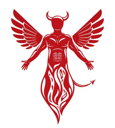 Vector illustratie van menselijke, gehoornde beangstigende schepsel gemaakt met vogel vleugels. Kwaadaardige geest, vlammen demon.