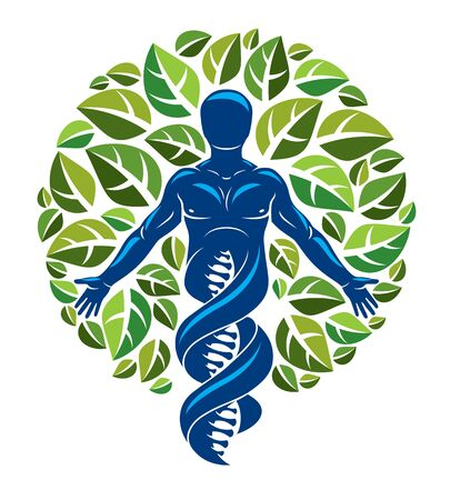 Graphic illustration of muscular human depicted as DNA strands continuation and created with ecology tree leaves.