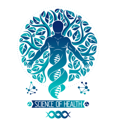 Vector graphic illustration of muscular human depicted as DNA symbol continuation and created with ecology tree leaves. Green thinking technology innovations, ecology conservation concept.