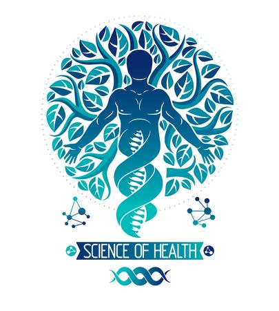 Vector ilustración gráfica de humanos musculares representados como continuación del símbolo de ADN y creado con hojas de árbol de ecología. Innovaciones de tecnología de pensamiento verde, concepto de conservación de ecología.