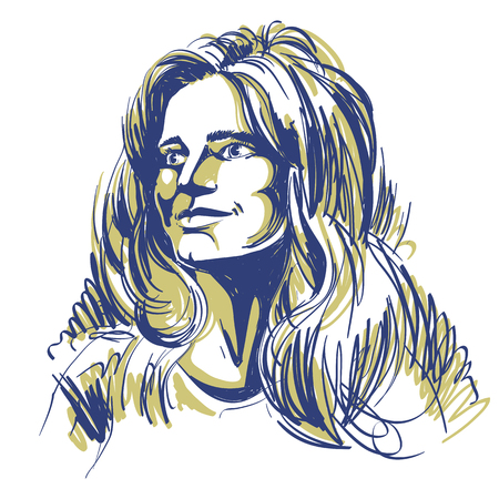 Portrait of bemused good-looking woman, black and white vector drawing.