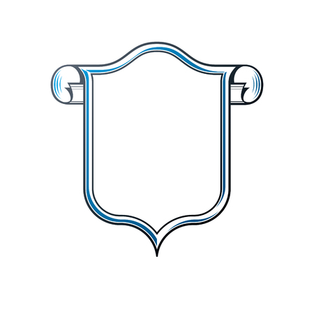 mirror frame: Victorian art vector frame with blank copy space and cartouche, vintage heraldic design. Heraldic template illustration, mirror border, decorative protection shield with rolled-up ends. Illustration
