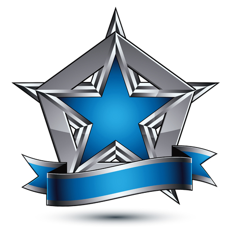Vector glorious glossy design element, luxury blue 3d star with silver outline, conceptual graphic template, clear EPS 8 gray decorative symbol. Illusztráció