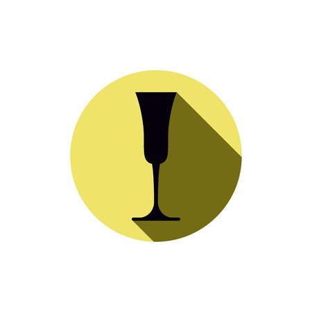 rendezvous: Alcohol theme icon, champagne goblet placed in a circle. Colorful restaurant brand emblem. Illustration