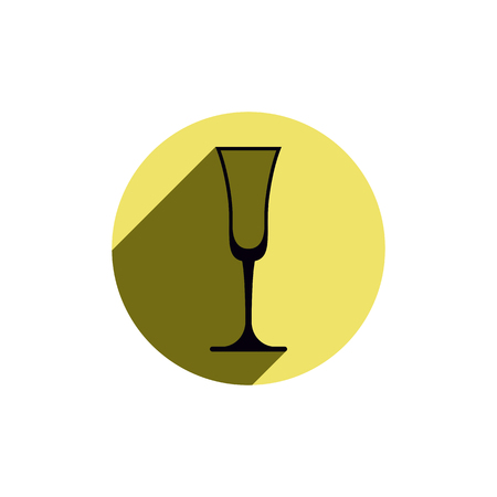 sophisticate: Alcohol theme icon, champagne goblet placed in a circle. Colorful restaurant brand emblem. Illustration