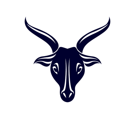 Vector graphic emblem of horned goat head as the illustration of Lucifer. Illustration