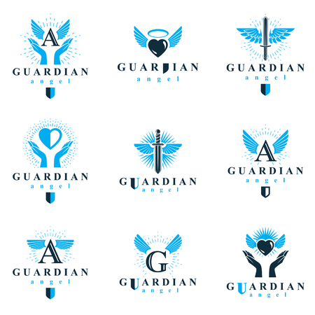 warriors: Holy spirit graphic vector logotypes collection, can be used in charity and catechesis organizations. Vector emblems created using battle swords, loving hearts and guardian shields. Illustration