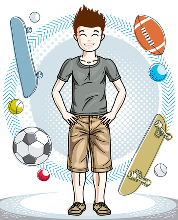school age: Cute little boy child standing in stylish casual clothes. Vector character. Fashion and lifestyle theme cartoon.