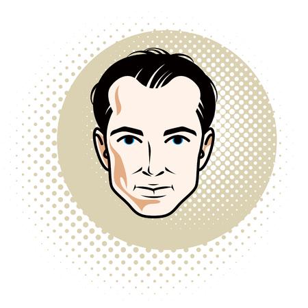 Caucasian confident brunet male, attractive man face, vector human portrait. Illustration