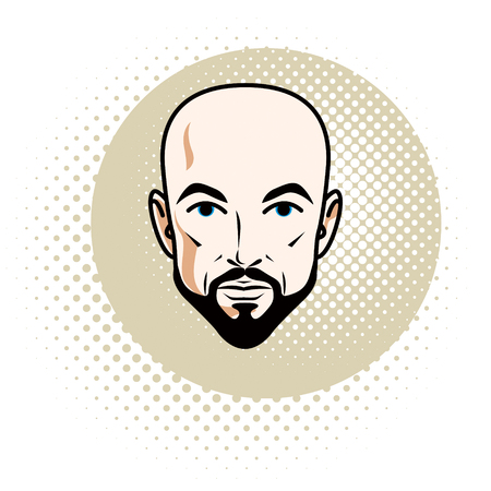 Caucasian man face features expressing confidence, vector human head illustration. Attractive bearded bald male with whiskers.