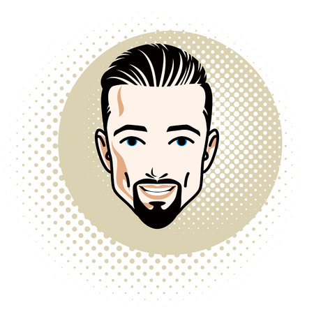Attractive bearded male with whiskers illustration