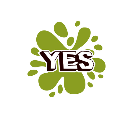 inquiry: Vector yes checkbox with green checkmark. Confirmation symbol isolated on white.