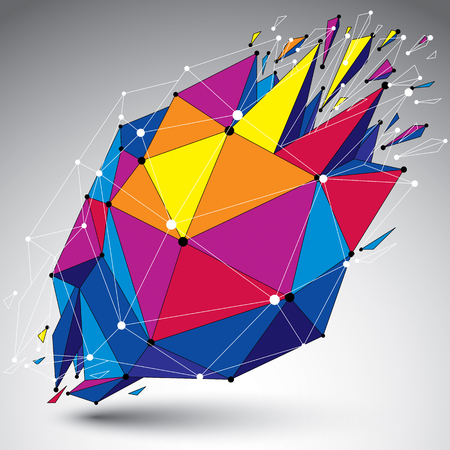 wreck: 3d vector low poly object with connected lines and dots, colorful geometric wireframe shape with refractions. Asymmetric perspective shattered form. Illustration