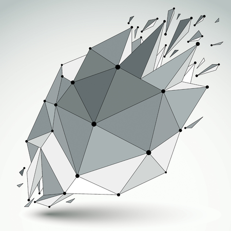 splinter: Abstract vector low poly wrecked object with black lines and dots connected. 3d origami futuristic form with lines mesh.