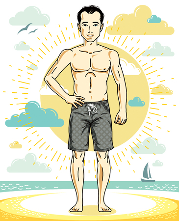 Handsome young man standing on tropical beach in bright shorts. Vector athletic male illustration. Summer vacation lifestyle theme cartoon. Illustration