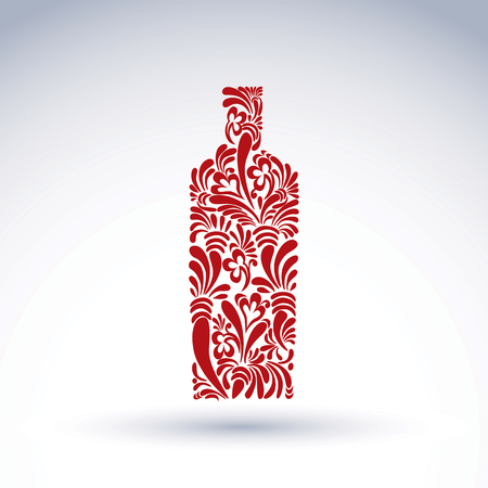 tincture: Alcohol theme graphic flower-patterned element. Classic bottle with abstract flower pattern  and with decorative curls. Leisure and relaxation vector object. Illustration