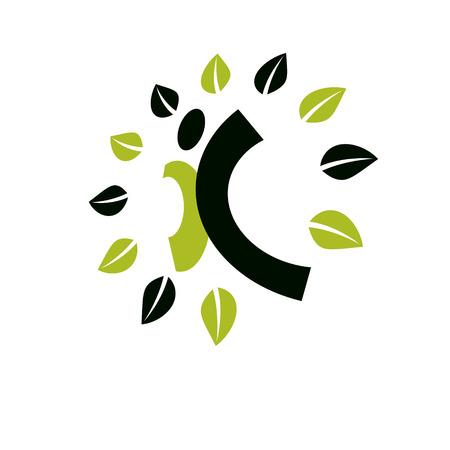 Vector illustration of joyful abstract individual with raised hands up. Go green idea creative logo. Healthy lifestyle metaphor. Vegetarian theme icon.