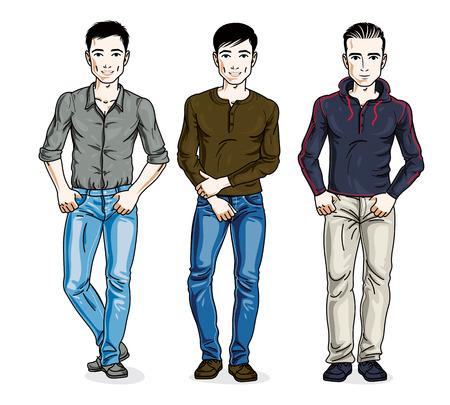 Hombres hermosos de pie con ropa casual de moda. Conjunto de diferentes personajes vectoriales.