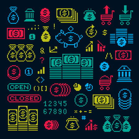 Vector flat 8 bit icons, collection of simple geometric pixel symbols. Digital web signs created in economics and finance concept. Çizim