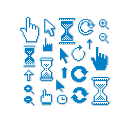 Set of vector retro cursor signs made in pixel art style. Simplistic arrows pointing at different directions. Geometric pixilated symbols like pointers and hourglasses. Çizim