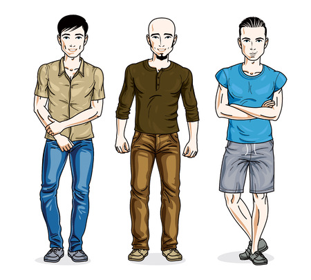 Happy men standing wearing fashionable casual clothes. Vector set of beautiful people illustrations. Lifestyle theme male characters.