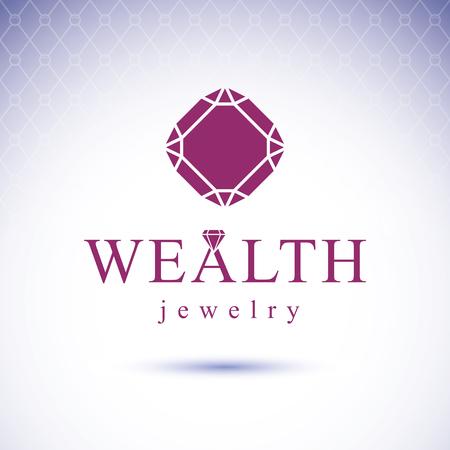expensive: Vector elegant sparkling gem. Glossy diamond sign emblem. Faceted gemstone illustration.