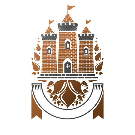 citadel: Ancient Fort emblem. Heraldic Coat of Arms decorative logo isolated illustration.