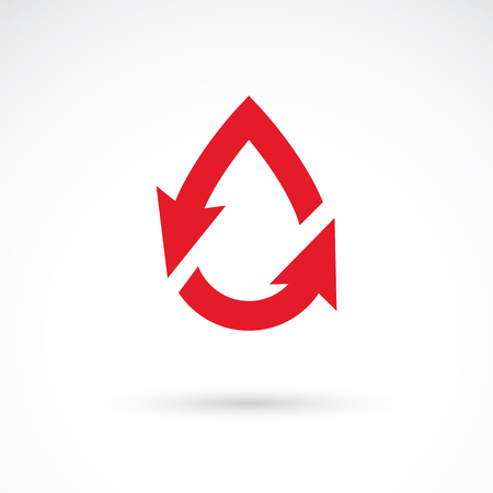 blood transfer: Vector illustration of heart shape with arrows and drops of blood. Cardiovascular illness treatment concept for use as cardio center emblem.