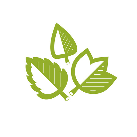 Vector graphic illustration of green leaves. Vegan conceptual abstract logotype for use in holistic medicine, rehabilitation or pharmacology.