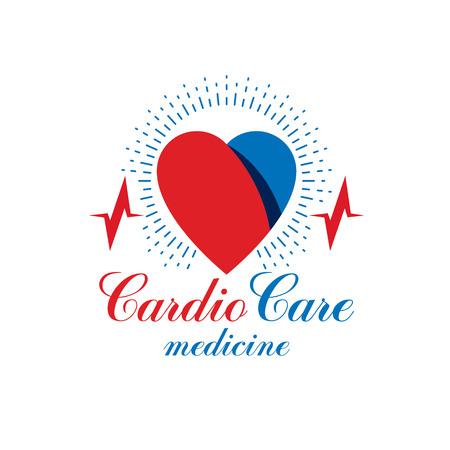 cardiograph: Cardiology vector conceptual emblem made with a heart pulsating electrocardiogram. Cardiology diagnosis clinic logotype.
