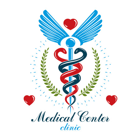 Aesculapius vector abstract business logo for use in medical treatment. Illustration