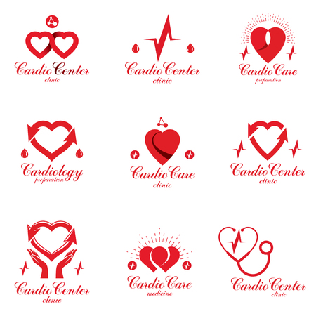 Heart shapes composed using pulsating ecg charts and phonendoscope. Disorders in cardiovascular system diagnosis clinic vector emblem for use in medical care advertisement.