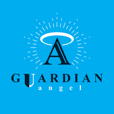 aura: Archangel vector conceptual symbol for use in catechesis organizations.