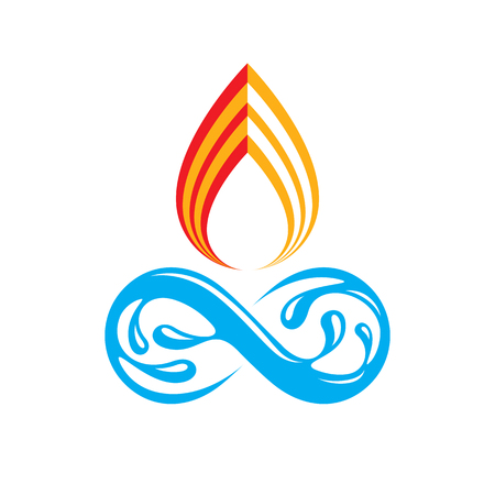 passion  ecology: Continuous harmony between water and fire nature elements, vector limitless illustration for use in advertising.
