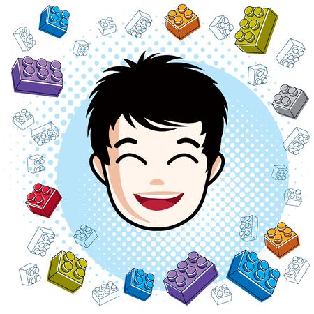 Boy face, vector human head illustration, portrait. Brunet teenager expressing positive emotions.