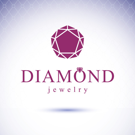 expensive: Vector glossy gemstone design element. Luxury diamond emblem, illustration. Illustration