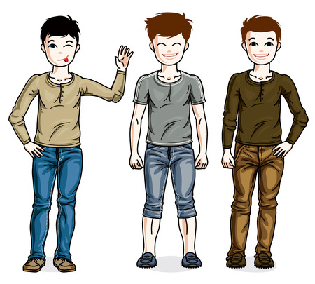 Cute little boys group standing in stylish casual clothes. Vector set of beautiful kids illustrations.