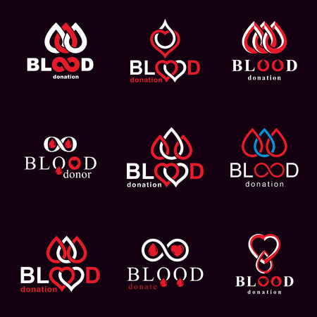 Vector illustrations created on blood donation theme, blood transfusion and circulation metaphor. Rehabilitation conceptual vector logotypes for use in pharmacology. Иллюстрация