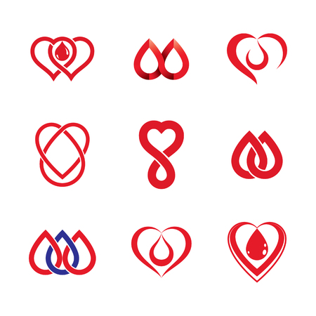 Set of vector symbols created on blood donation theme, blood transfusion and circulation metaphor. Medical care idea logotypes for use in medical care advertisement.