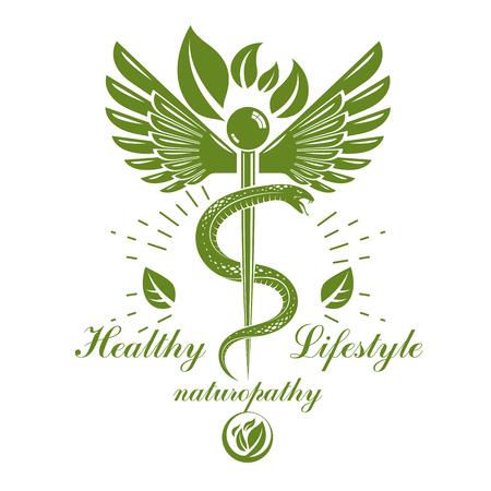 유독 한 뱀 및 조류 날개, 의료 개념 벡터 일러스트 레이 션으로 구성 된 Caduceus 로고. 대체 의학 테마입니다.