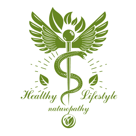 Caduceus logo composed with poisonous snakes and bird wings, healthcare conceptual vector illustration. Alternative medicine theme. Çizim