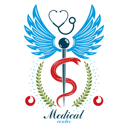 Aesculapius vector abstract business logo for use in medical treatment. Cardiovascular system diseases prevention conceptual emblem. Illustration