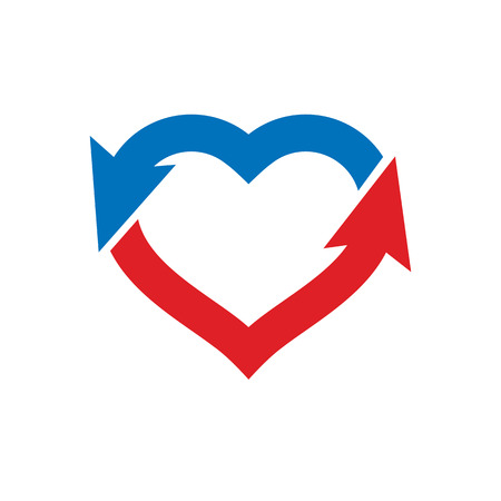 Vector illustration of heart shape with arrows. Cardiovascular system diseases treatment logo for use in pharmacology.
