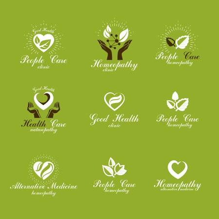 science symbols metaphors: Living in harmony with nature metaphor, set of green health idea logos. Wellness center abstract modern emblems.