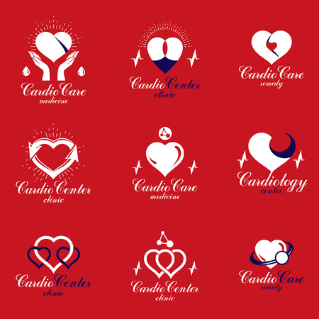 Red heart shapes made using ecg charts and caring hands. Set of cardiovascular system diseases remedy conceptual vector logotypes for use as cardio center emblems. Иллюстрация