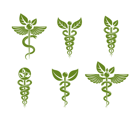 med: Collection of Caduceus illustrations composed with poisonous snakes and bird wings, healthcare conceptual vector illustrations. Alternative medicine theme.