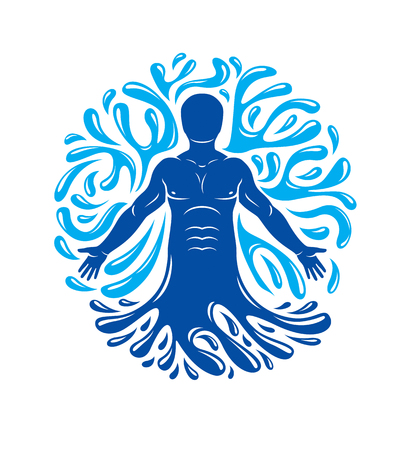 spring balance: Vector graphic illustration of strong male, body silhouette surrounded by a water ball. Living in harmony with nature. Illustration
