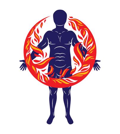 체육 남자, 인간 및 자연 조화, 불 덩어리 덮여 화재 남자의 벡터 일러스트 레이 션. 일러스트